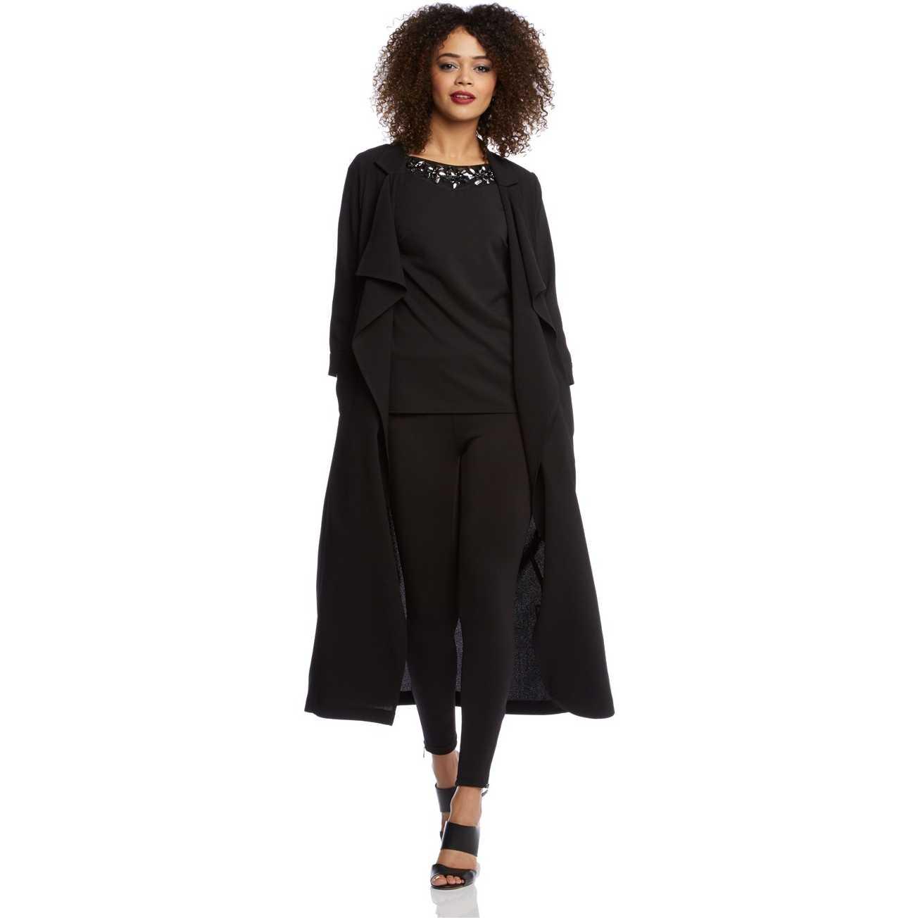 Trenci modern, lung, de culoare neagra pentru femei