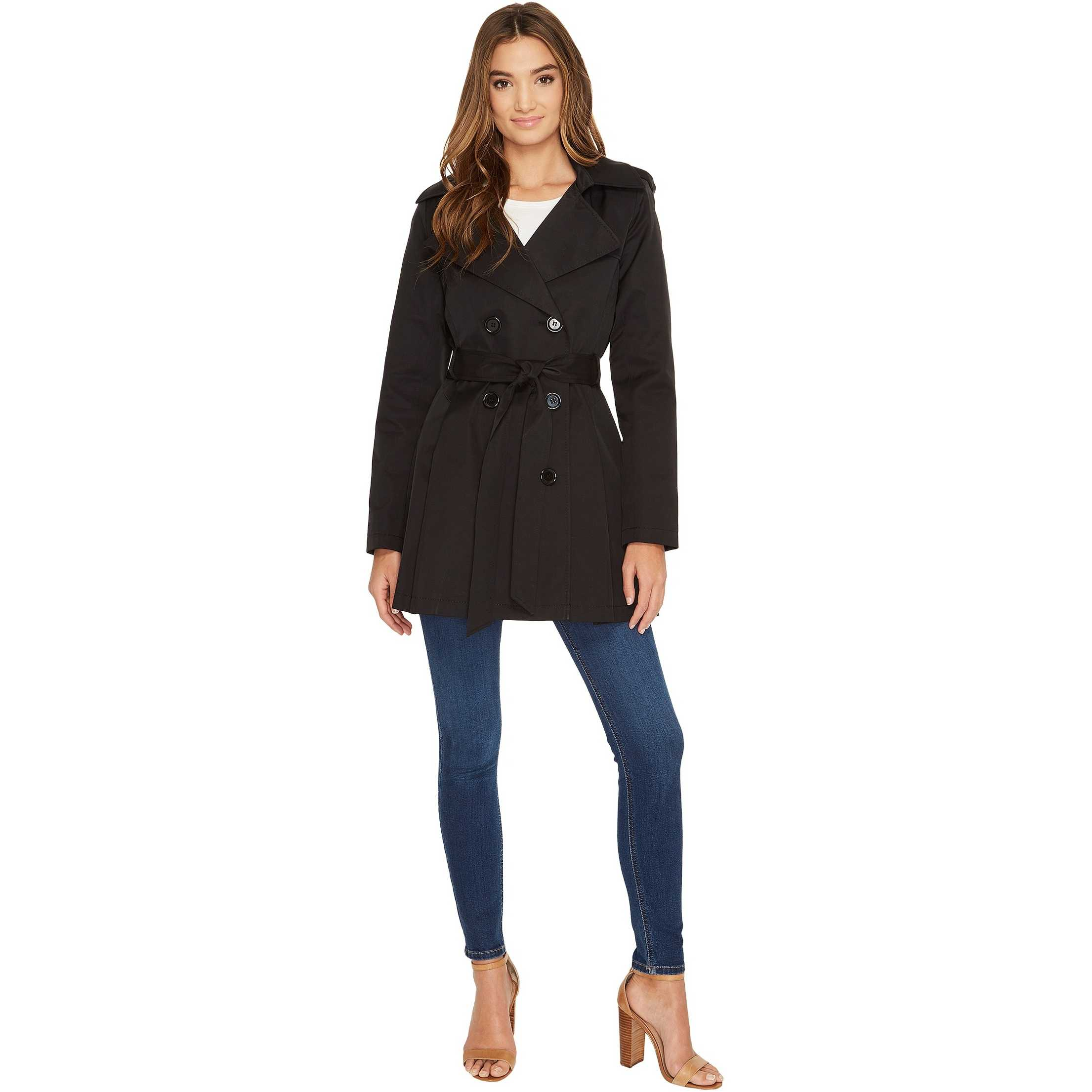 Via Spiga Double Breasted Trench Coat Black pentru dama