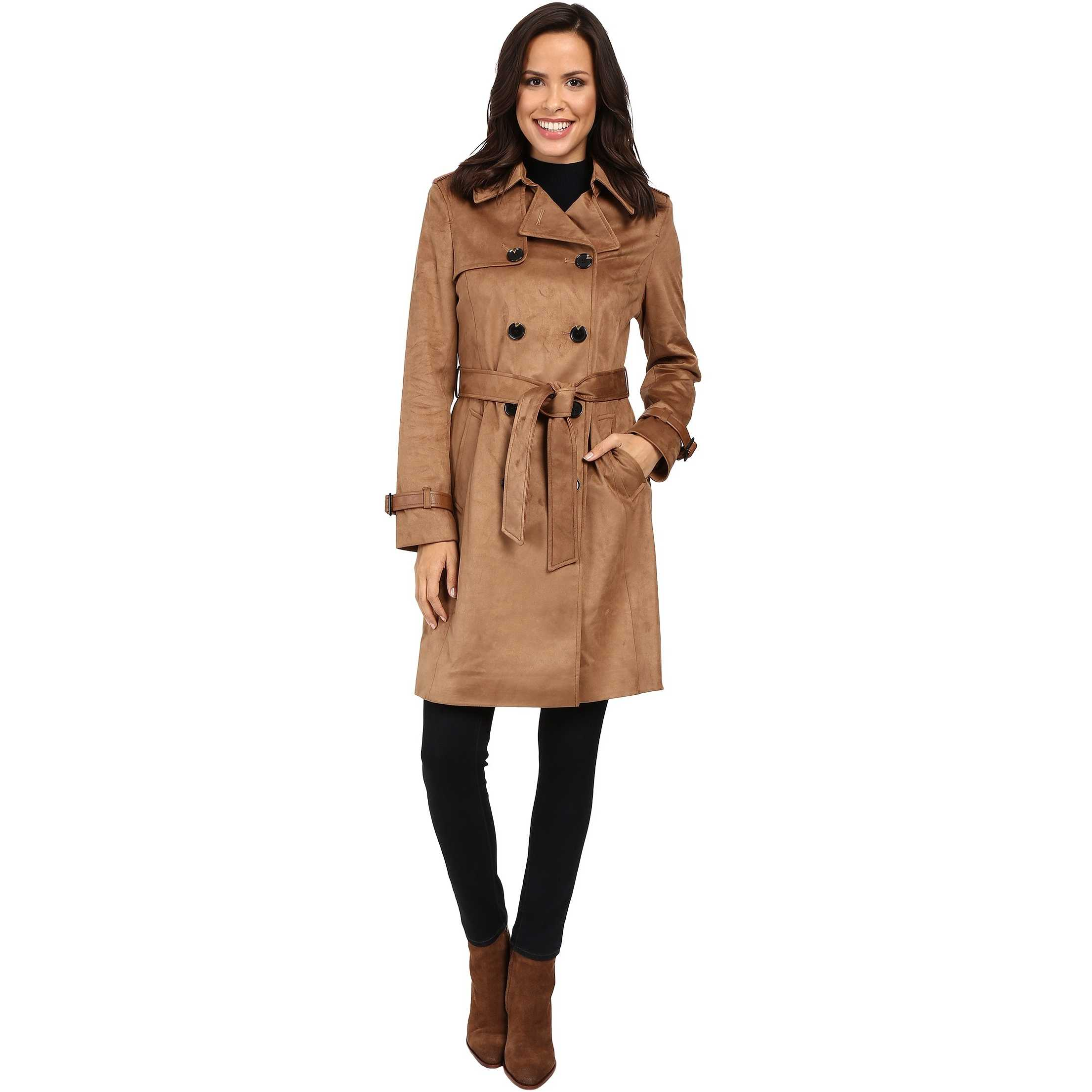 Via Spiga Faux Suede Double Breasted Belted Trench Vicuna pentru femei
