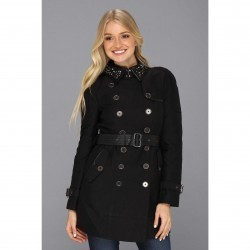 Sam Edelman Kendrix Studded Collar Trench Black