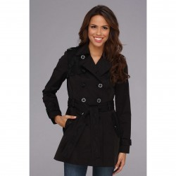 Jessica Simpson Lace Trim Trench Coat JOFMC619 Black