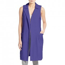 Trouve Long Trench Vest BLUE-CLEMATIS trench femei