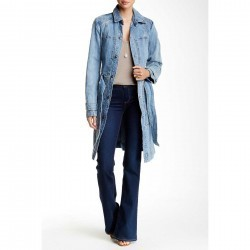 Free People Denim Trench Coat BLU BNT WH trench femei
