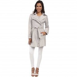 Jessica Simpson Asymmetrical Zip Ruffle Front Trench Silver trench dama