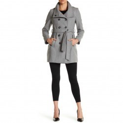 DKNY Double Breasted Stand Collar Wool Blend Trench Coat LT GREY trench femei