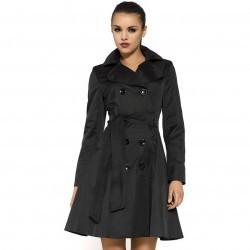 Trenci elegant, de culoare neagra, cu doua randuri de nasturi trench femei