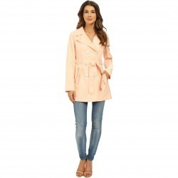 Jessica Simpson Double Breasted Belted Trench Blush trench dama