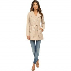 Jessica Simpson Double Breasted Belted Trench Stone trench femei