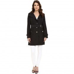 Calvin Klein Single Breasted Hooded Belted Trench w/ Printed Liner Black trench dama