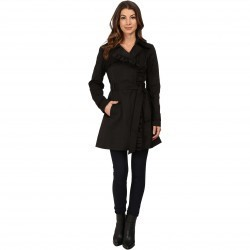 Jessica Simpson Belted Ruffle Trench Black trench dama