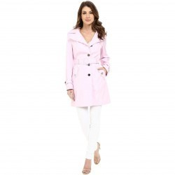 Calvin Klein Single Breasted Hooded Belted Trench w/ Printed Liner Pink trench dama