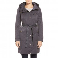 Ellen Tracy Belted Utility Trench Coat GRAPHITE trench femei