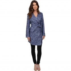 Kenneth Cole New York Printed Trench Coat Cadet Blue trench dama