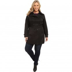 MICHAEL Michael Kors Plus Size Double-Breasted Trench Black trench dama