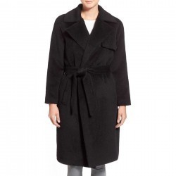 Trina Turk 'Delaney' Long Wrap Trench Coat BLACK trench femei