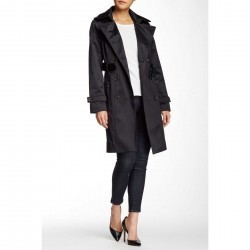 London Fog Water Repellent Double Breasted Trench Coat BLACK trench dama