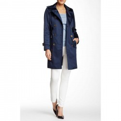 London Fog Water Repellent Double Breasted Trench Coat (Petite) NAVY trench dama