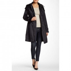 London Fog Water Repellent Hooded Trench Coat BLACK trench femei
