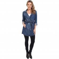 NYDJ Drapy Trench Coat Denim Denim trench femei