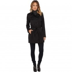 DKNY Double Breasted Belted Trench w/ Zipper and Tab Details 06541-Y5 Black trench dama