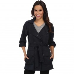 Vince Camuto Fluid-Short Trench Navy trench dama