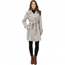 Jessica Simpson Double Breasted Trench Jacket w/ Pleated Skirt Heather Grey pentru dama