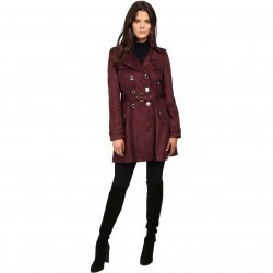 Jessica Simpson S Rain Trench with Double Breasted Buttons Burgundy pentru dama