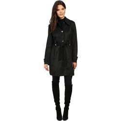 Jessica Simpson S Rain Trench with Stitching Detail Single Breasted Belted Black pentru femei