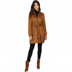 Jessica Simpson S Rain Trench with Stitching Detail Single Breasted Belted Cognac pentru dama