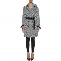 Saint Laurent Chevron Wool Trench Coat NOIR/BLANC pentru femei