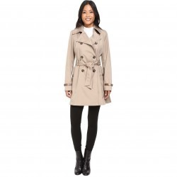 Via Spiga Double Breasted Trench with Faux Leather Detaiil Beige pentru femei